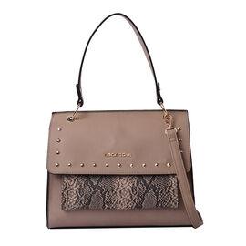 LOCK SOUL Snake Skin Pattern Convertible Bag with Shoulder Strap - Light Brown