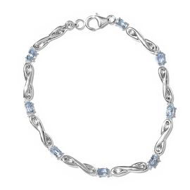 Sky Blue Topaz (Ovl) Bracelet (Size 7.5) in Sterling Silver 2.250 Ct. Silver wt 3.62 Gms.