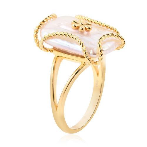 Purple Baroque Pearl Floral Ring in Yellow Gold Overlay Sterling Silver