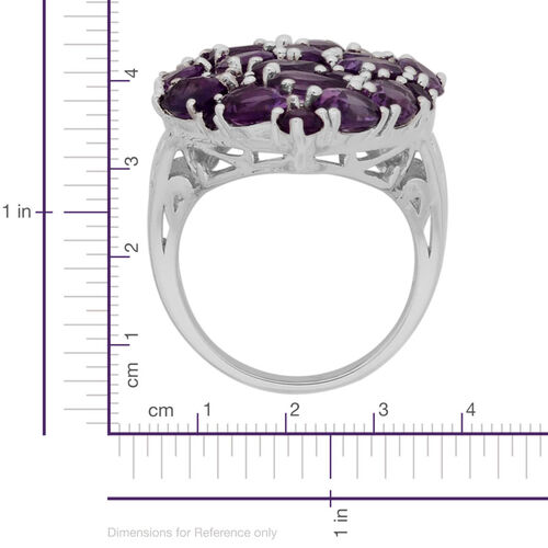 Amethyst (Ovl) Cluster Ring in Sterling Silver 7.330 Ct.