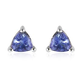 Tanzanite (Trl) Stud Earrings (with Push Back) in Platinum Overlay Sterling Silver 0.570 Ct.