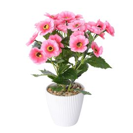 Summer Blooms - Realistic Effect Artificial Flower Pot - Pink Coreopsis