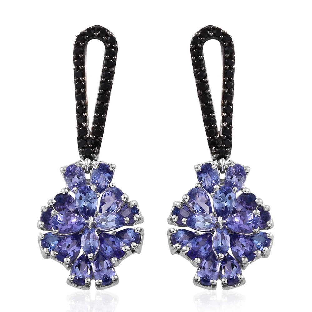 TJC Women Platinum Plated Sterling Silver Tanzanite French Clip Earrings 7Xwn4LPm