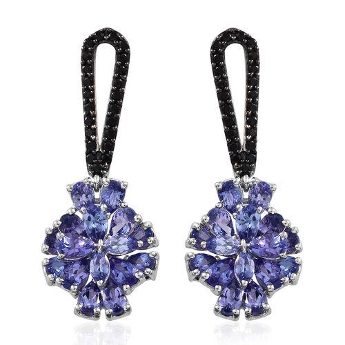 Designer Inspired-Tanzanite (Pear), Boi Ploi Black Spinel Earrings (with Push Back) in Platinum Over