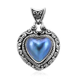 Royal Bali Collection Blue Mabe Pearl Heart Pendant in Sterling Silver 6.99 Grams