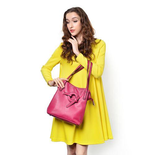 Fuchsia Colour Tote Bag (Size 30x29x13 Cm)