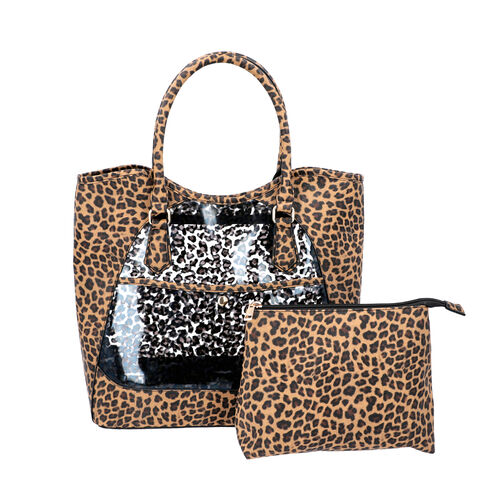 2 Piece Set - Leopard Skin Pattern Tote Bag (Size 38x32x13 cm) with Zipper Closure and Pouch Bag (Si