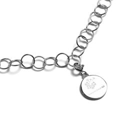 Sundays Child - Platinum Overlay Sterling Silver Round Link Necklace (Size 30) with Charm