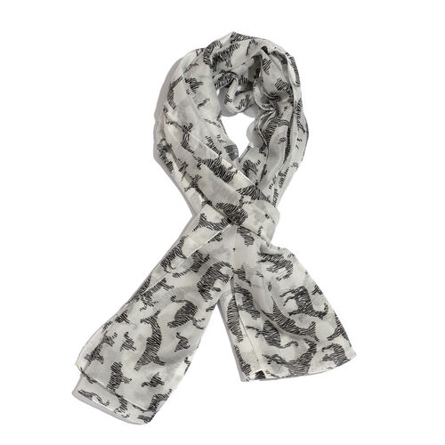 100% Mulberry Silk Black Colour Deer, Fish and Multi Animals Printed White Colour Pareo  (Size 180x1