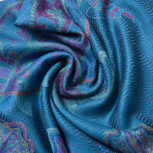 Forest Green, Purple and Multi Colour Paisley Pattern Scarf with Tassels (Size 170X68 Cm)