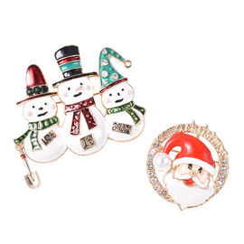 Simulated Pearl (Rnd), White and Green Austrian Crystal Snowman and Santa Claus Enamelled Brooch