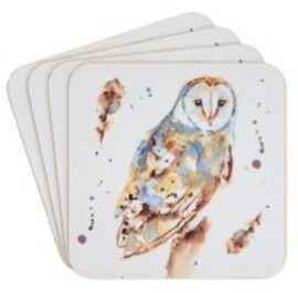 Set of 4 - Country Life Owl Coasters (Size 10.5x10.5cm)