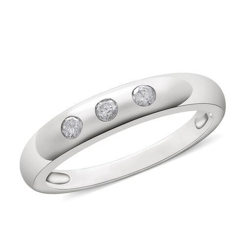 9K White Gold 0.15 Ct Diamond Trilogy Band Ring SGL Certified (I3/G-H)