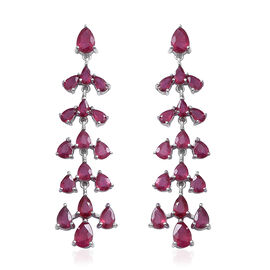 African Ruby (Pear) Chandelier Earrings (with Push Back) in Rhodium Overlay Sterling Silver  18.050 Ct, Silver wt 8.30 Gms.