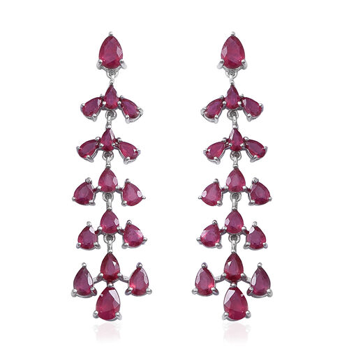 African Ruby (Pear) Chandelier Earrings (with Push Back) in Rhodium Overlay Sterling Silver  18.050