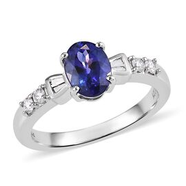 RHAPSODY 950 Platinum AAAA Tanzanite (Ovl) and Diamond (VS/E-F) Ring 1.500 Ct.