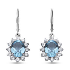 Sky Blue Topaz and Natural Cambodian Zircon Floral Halo Drop Lever Back Earrings in Rhodium Overlay
