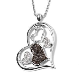 Hematite Color Crystals and White Crystal Heart Pendant With Chain