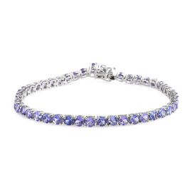 10 Carat Tanzanite Tennis Bracelet in Platinum Plated Sterling Silver 9.67 Grams 8 Inch