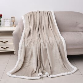 Foil Printed Flannel Sherpa Blanket (Size 150x200 Cm)