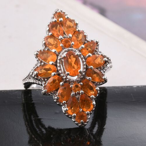 Jalisco Fire Opal (Ovl) Ring in Platinum Overlay Sterling Silver 2.360 Ct. Silver wt 5.23 Gms.