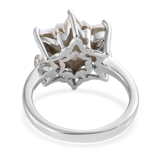 J Francis - Crystal from Swarovski - Swarovski AB Crystal Stellaris Cut Ring in Platinum Overlay Sterling Silver