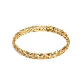 Italian Made 9K Yellow Gold Stretchable Mesh Bracelet (Size 6 to 10)