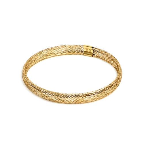 Italian Made 9K Yellow Gold Stretchable Mesh Bracelet (Size 6-10)