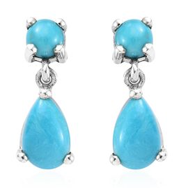 SLEEPING BEAUTY TURQUOISE (1.95 Ct) Platinum Overlay Sterling Silver Earring  2.000  Ct.