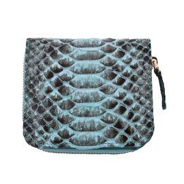 LA MAREY 100% Genuine Python Leather  Wallet with Zipper Closure (Size 11x10x2cm) - Blue