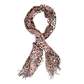 Close Out Deal- Reversible Leopard Pattern Shawl with Tassels (Size 180x70+8cm)- Brown