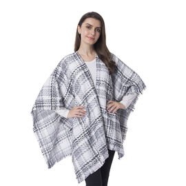 One Time Close Out Deal- White Colour Checkers Pattern Shawl Size 74X105 cm