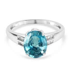 9K White Gold Ratanakiri Blue Zircon and Diamond Ring 4.19 Ct.
