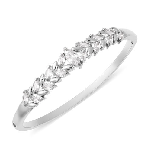 Simulated Diamond Leaf Design Bangle (Size 6.75) in Silver Plated