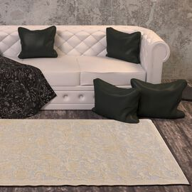 Vivaz Collection - Jaal- Damask Pattern Jacquard Carpet (Size 75x150 Cm) - Ivory