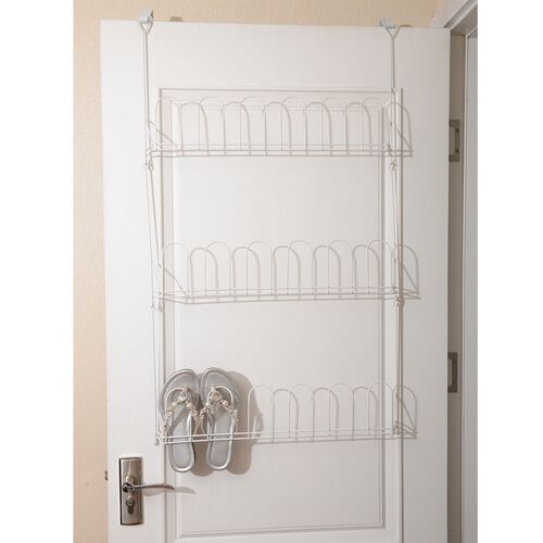 White Colour 9 Pairs Over the Door Shoe Rack in Stainless Steel (Size 100x56x6.5 Cm)