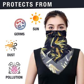 2 in 1 Flower Pattern Chiffon Soft Feel Scarf and Protective Face Mask (Size 45x45 Cm) - Navy