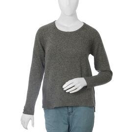 80% Wool Graphite Melange Colour Top (Size-S, 68.5x49.5cm)