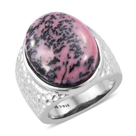 Zaire Rhodonite (Ovl) Ring in Stainless Steel 25.000 Ct.