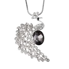 Simulated Grey Spinel (Ovl), White Austrian Crystal Peacock Necklace (Size 28 with 1.5 inch Extender