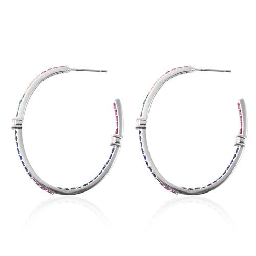 Simulated Rainbow Sapphire Earrings (with Push Back) in Silver Tone