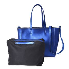 2 Piece Set - 100% Genuine Leather Tote Bag with Detachable Shoulder Strap and a Pouch - Metallic Bl