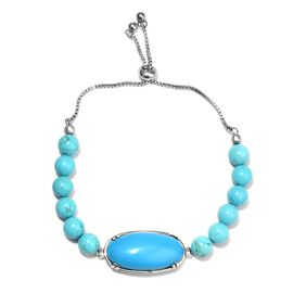 18 Ct Blue Howlite Beaded Adjustable Bracelet in Stainless Steel 9.5 Inch