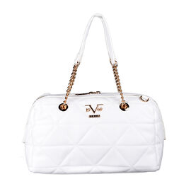 19V69 ITALIA by Alessandro Versace Quilted Pattern Crossbody Bag with Detachable Strap (Size 27x10x18cm) - White
