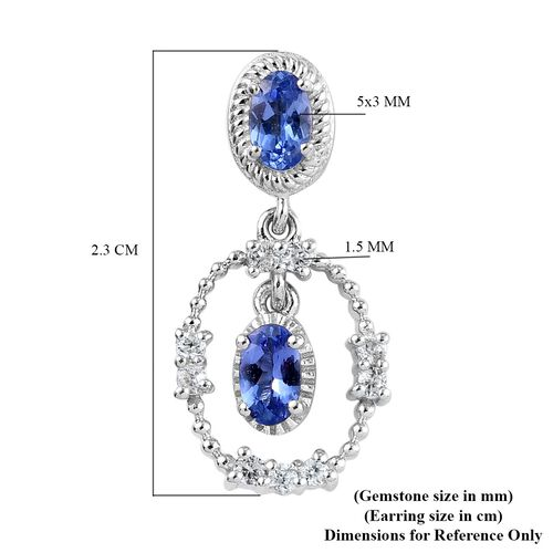 Tanzanite and Natural Cambodian Zircon Dangling Earrings (with Push Back) in Platinum Overlay Sterling Silver 1.23 Ct.