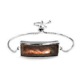 100% Natural Bokonaky Fire Labradorite (Bgt 30x10 mm) Bolo Bracelet (Size 6.5 - 9) Platinum Overlay