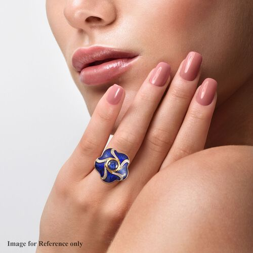 Masoala Sapphire Enamelled Floral Ring in 14K Gold Overlay Sterling Silver 2.00 Ct, Silver wt 6.30 Gms