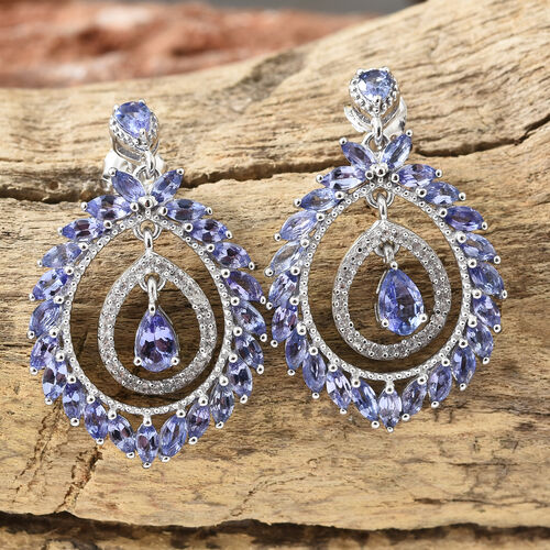Tanzanite (Pear), Natural Cambodian Zircon Earrings (With Push Back) in Platinum Overlay Sterling Silver 5.500 Ct, Number Of Gemstone 108