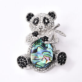 Abalone Shell and Black and White Austrian Crystal Panda Pendant with Chain