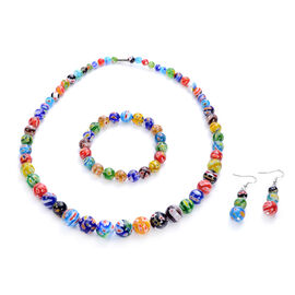 3 Piece Set - Multi Colour Murano Style  Glass Necklace (Size 20 with Magnetic Lock), Stretchable Br